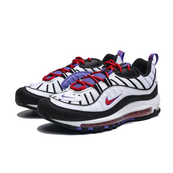 NIKE AIR MAX 98 白黑紫 大氣墊 運動 慢跑鞋 男 (布魯克林) 640744-110