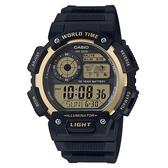 【CASIO】電力十足超值膠帶電子錶-黑X金(AE-1400WH-9A)