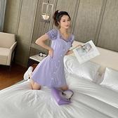 夏季收腰顯瘦吊帶紫色連身裙 【全館免運】