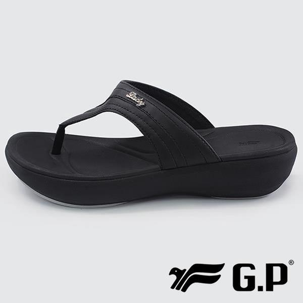 【G.P】女 夾腳涼拖鞋『黑』G8518W-10 健行.涼鞋.自行車.溯溪.健走.海邊.沙灘鞋.戶外.露營
