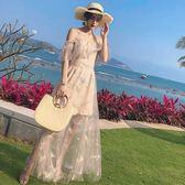 無袖洋裝泰國普吉島超仙連身裙一字肩顯瘦吊帶長裙海南三亞馬爾代夫沙灘裙