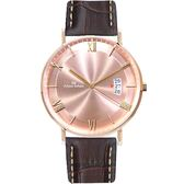 Max Max 義大利時尚羅馬風情簡約腕錶-咖啡X玫瑰金