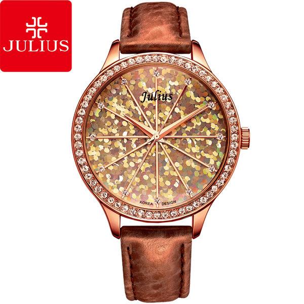 JULIUS 聚利時 璀璨萬花筒水鑽皮帶腕錶-咖啡紅/38mm 【JA-791E】