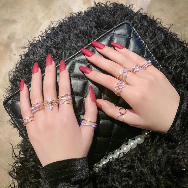 戒指女食指時尚個性開口可調節尾戒套裝【時尚大衣櫥】