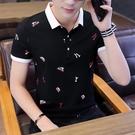 2021夏季男士短袖t恤襯衫領潮流韓版POLO衫半袖純棉帶領丅上衣服「時尚彩紅屋」
