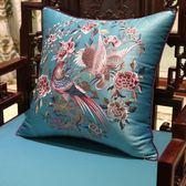 中式古典花鳥刺繡沙發靠墊抱枕歐式床頭軟包大靠背套汽車腰枕含芯WY【店慶滿月好康八折】
