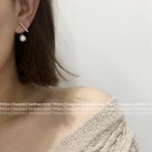 耳環進口水鑽長短一字後掛珍珠兩戴耳環耳墜女