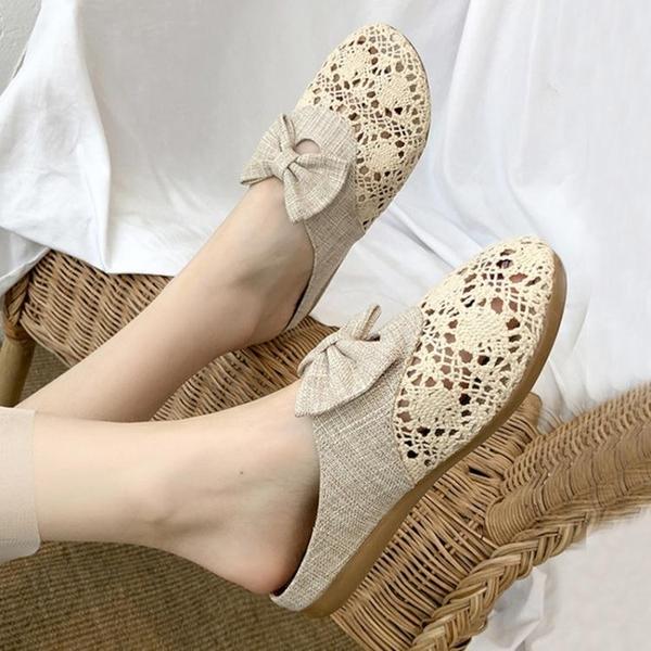 半拖鞋 2021新款韓版蕾絲包頭網面半拖鞋女夏鏤空亞麻編織懶人外穿涼拖鞋 小天使