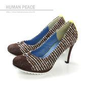HUMAN PEACE 皮革 舒適 高跟鞋 戶外休閒鞋 咖啡 女鞋 no326