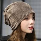 帽子 6色 純色毛絨 月子帽 頭套帽 毛帽 71531