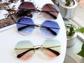 歐美多邊形無框切邊太陽眼鏡女 漸變海洋片色漸變墨鏡防紫外線女【新年交換禮物降價】
