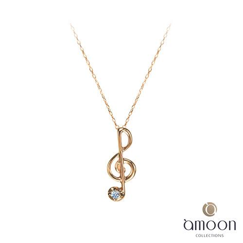 amoon艾慕10K金鑽石項鍊-玫瑰金