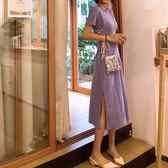 港味復古chic夏季高腰綁帶收腰中長款開叉女裙新款純色短袖連衣裙洋裝