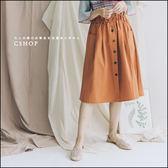 裙子  荷葉綁帶裝飾釦A-Line裙  三色-小C館日系