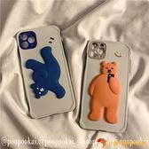 熊情侶蘋果12/11手機殼promax軟8plus/xr/iphone7夜市量販【小獅子】