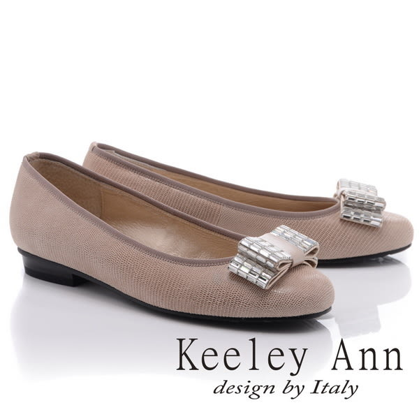 ★零碼出清★Keeley Ann質感壓紋~水鑽蝴蝶結OL全真皮低跟鞋(卡其色)