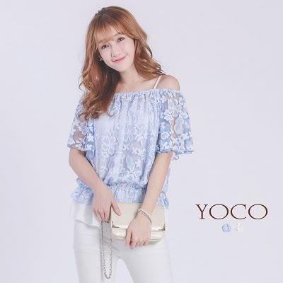 東京著衣【YOCO】印花一字領細肩帶上衣(6018054)