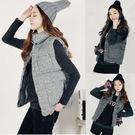 (全館一件免運)DE SHOP~(T-1543)外套 背心 無袖棉立領保暖釘扣馬甲