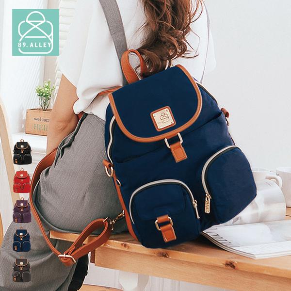 後背包 獨家品牌防水牛津 休閒款多口袋兩用後背/斜背包(大款) 女包 89.Alley-HB89152