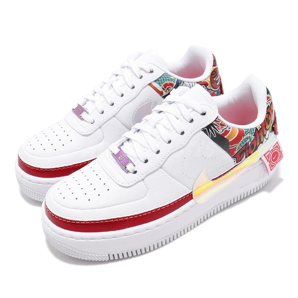 Nike 休閒鞋 Air Force 1 Jester XX 白 彩色 女鞋 運動鞋 皮革 印花 【PUMP306】 CK5738-191