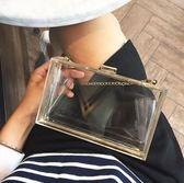 亞克力女迷你宴會包高檔鏈條透明手拿晚宴包 GY287『美鞋公社』
