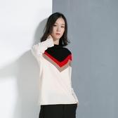 羊毛針織衫-高領長袖撞色保暖冬季女毛衣2色73uj29【巴黎精品】