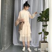 洋装春夏新款韓版氣質甜美蕾絲花邊泡泡袖網紗洋裝女百搭純色中長裙  嬌糖小屋