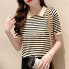 黑白條紋短袖t恤女夏裝2021新款翻領寬鬆冰絲薄針織衫娃娃領上衣 快速出貨
