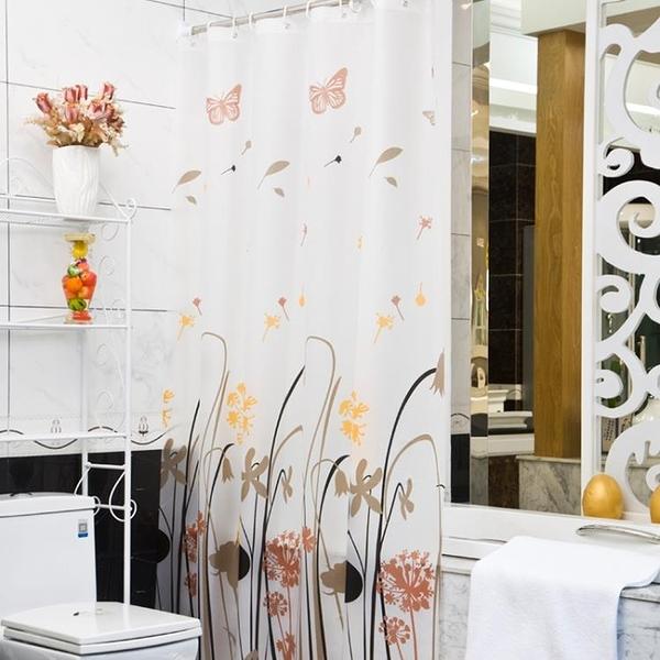 衛生間浴室浴簾套裝免打孔防潑水加厚防霉洗澡隔斷門簾淋浴掛簾子布