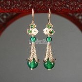 綠色水滴耳環女氣質長款純銀中國風復古古典耳飾民族風古風耳墜女 快速出貨