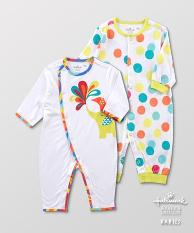 Hallmark Babies 男女嬰春夏竹纖維波點長袖連身衣(兩件裝) HE1-M01-01-BU-PL