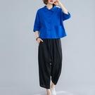 棉麻套裝女開衫復古盤扣減齡純色T恤兩件套洋氣亞麻休閒哈倫褲夏 設計師