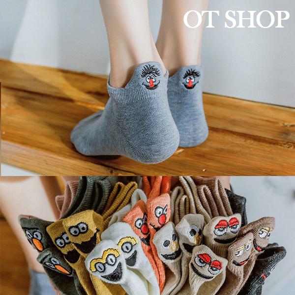 [現貨] ] 中性情侶 隱形襪 襪子 船型襪 短襪 表情笑臉刺繡 女生配件 純棉襪 新色 M1043