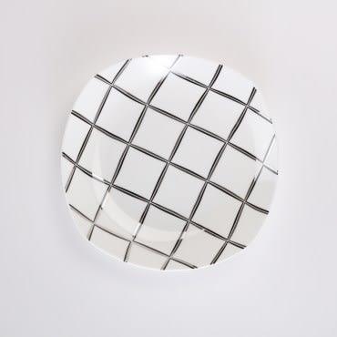 HOLA 香頌骨瓷方湯盤22cm格紋