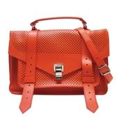 Proenza Schouler橘紅色牛皮鏤空造型手提肩背兩用包/郵差包 PS1 【BRAND OFF】