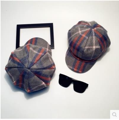 韓版格格紋毛呢八角帽女秋冬羊毛貝雷帽鴨舌帽畫家帽