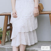 咖啡小豆 浪漫雪紡中長裙 多層次荷葉蛋糕鬆緊長裙 公主裙 蓬蓬裙【DEMI丹米】