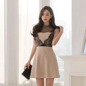 VK精品服飾 韓版蕾絲拼接修身顯瘦無袖洋裝