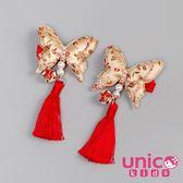 UNICO 兒童 新年中國風金色蝴蝶流蘇對夾-2入組