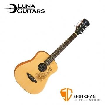 【美國品牌Luna Mini】 36吋小吉他 花葉圖騰(雲杉面板/桃花心木側背板) 附贈原廠Luna Baby吉他袋