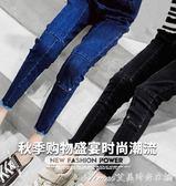 女童冬裝牛仔褲新款兒童韓版童裝中大童洋氣加絨加厚小腳褲子 艾美時尚衣櫥