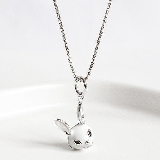 《 QBOX 》FASHION 飾品【CD118】精緻秀氣可愛兔子造型S925純銀項鍊/吊墜