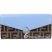 FENDI RAMA FF 配色浮雕小牛皮釦式長夾(粉藍) 1930401-23