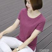 純白夏裝短袖t恤女韓版純棉圓領竹節棉大碼媽媽半袖寬鬆中年上衣-ifashion