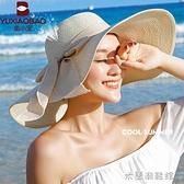 沙灘帽 魚小寶海邊防曬草帽可折疊沙灘帽女大沿帽遮陽帽旅游太陽帽子 快速出貨