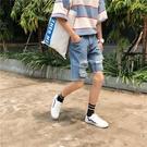 FINDSENSE H1 2018 夏季 新款 夏裝 男士 五分褲 破洞 大碼