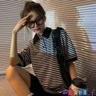 短袖POLO衫 翻領polo衫女短袖t恤2021年新款寬鬆韓版中長款條紋上衣夏裝潮寶貝計畫 上新