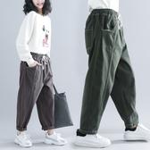 大腿粗的褲子女生顯瘦文藝大碼胖mm秋冬寬鬆緊腰哈倫褲寬鬆蘿蔔褲