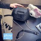 【P097】shiny藍格子-小巧迷你.春夏新款復古貝殼鏈條單肩斜挎小包