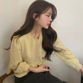 元氣少女韓國chic春夏巨顯白檸檬黃清新減齡百搭圓領弧度下擺襯衫『居享優品』